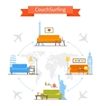 Couch Surfing and sharing economy concept vector image