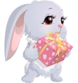 cute bunny holding a box with gifts vector image vector image