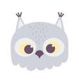 cute owl animal face cartoon isolated design icon vector image