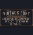 decorative vintage font on dark background vector image vector image