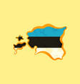 estonia - map colored with estonian flag vector image vector image