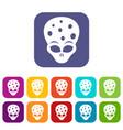 extraterrestrial alien head icons set vector image