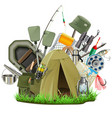 fishing camp vector image vector image