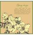 Floral card template design with dog-rose flower vector image