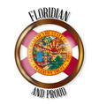 florida proud flag button vector image vector image