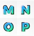 font alphabet set letters m n o p gradient color vector image