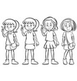 girl in four different costumes vector image vector image