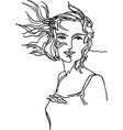 girl with hair developing in wind continuous line vector image vector image