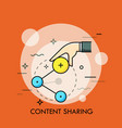 hand holding share icon concept of online vector image vector image