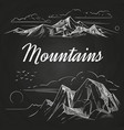 hand sketched mountains landscapes on blackboard vector image