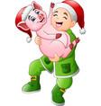 happy new year greeting card with cartoon santa cl vector image vector image