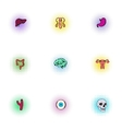 Internal organs icons set pop-art style vector image vector image