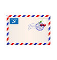 international air mail envelope with postal stamp vector image vector image