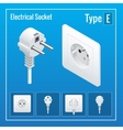 Isometric Switches and sockets set Type E vector image