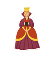 majestic queen in purple dress and gold crown vector image