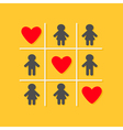 Man Woman icon Tic tac toe game Three red big vector image vector image