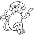 monkey with banana coloring page vector image vector image