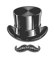 monochrome of top hat and moustache vector image vector image