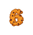 number 6 cookies font oatmeal biscuit alphabet vector image vector image