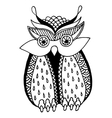 original artwork owl ink hand drawing in ethnic vector image