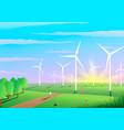 picturesque landscape a wind farm ecology vector image