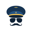 portrait of pilot with mustache in cap vector image vector image