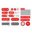 red play button set subscribe follow like comment vector image
