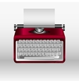 Retro typewriter with white paper sheet 3d vector image