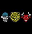 roaring tiger poster vintage bull head retro vector image vector image