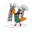 sad fox walking in rain vector image vector image