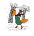 Sad fox walking in the rain vector image