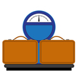 Scales with suitcases vector image vector image