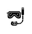 scuba diving mask black icon sign on vector image