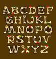 set english alphabet decorated with flowers vector image