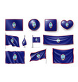 set guam realistic flags banners banners vector image vector image