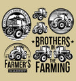 set of monochrome patterns on agriculture with two vector image vector image
