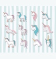 set unicorns poses icons vector image