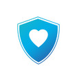 shield in heart icon isolated on white background vector image vector image