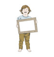 sketch of happy children boy with frame vector image