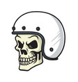 skull biker helmet cartoon vector image
