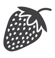 strawberry solid icon fruit and diet vector image
