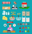 Supermarket icons Food and drinks basket and money vector image vector image