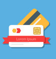 two bank or discount cards with a red ribbon vector image