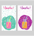 two card templates with doodle style jars with vector image vector image