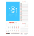 wall calendar planner template for august 2021 vector image vector image
