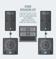 color flat style loudspeakers on subwoofer and vector image