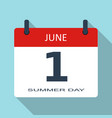 1 june summer day flat daily calendar ico vector image vector image