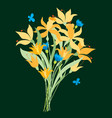 a bouquet of decorative daffodils vector image vector image