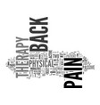 back pain therapy text word cloud concept vector image vector image