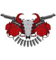 banner with two old revolvers skull and roses vector image vector image